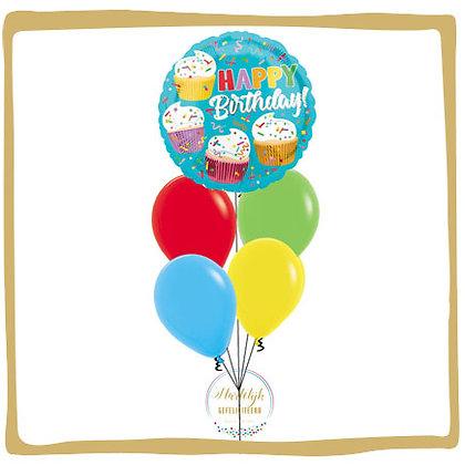 Happy Birthday Cupcakes - Helium Ballonboeket