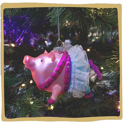Kerstbal - Kleurrijk Varkentje met Tutu