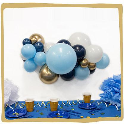 Maak je eigen ballonslinger - Blauw/Goud