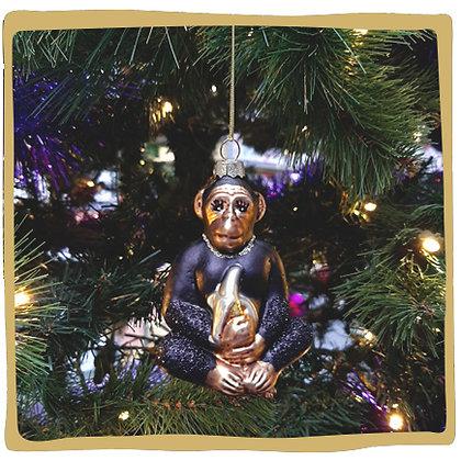 Kerstbal - Glitter Aapje met Banaan