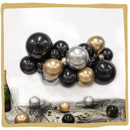 Maak je eigen ballonslinger - Silver/Goud/Zwart
