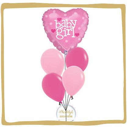 Baby Girl Hart - Helium Ballonboeket