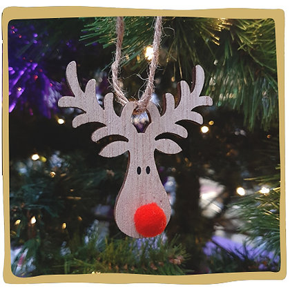 Kerstbal - Houten Rendier met Rode Pompon Neus