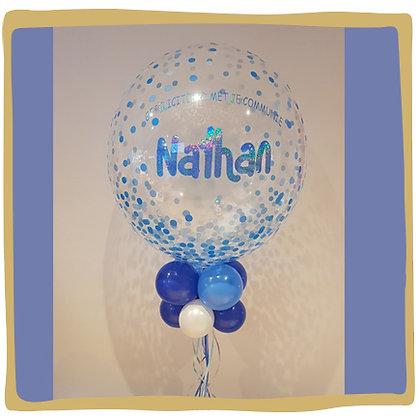 Bubble Ballon met naam - Blauw