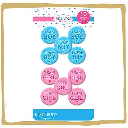 Gender Reveal Buttons - 10stuks
