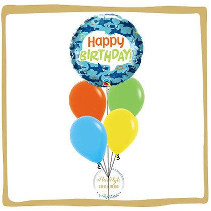 Shark Happy Birthday - Helium Ballonboeket