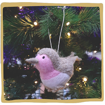 Kerstbal - Roze Vogeltje