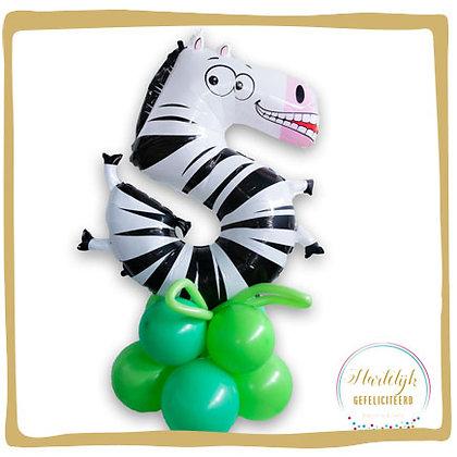 Nummer 5 Ballon - Zebra