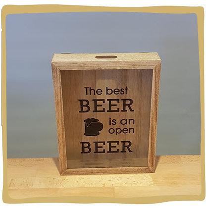 Kroonkurken spaarpot - The best beer is an open beer