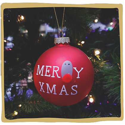 Kerstbal - Merry Xmas - Rendier Rood