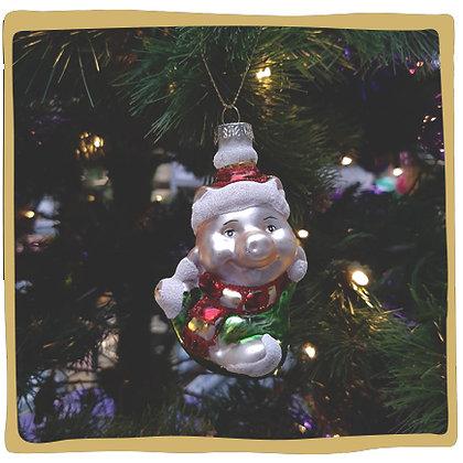 Kerstbal - Varkentje met Kerstmuts