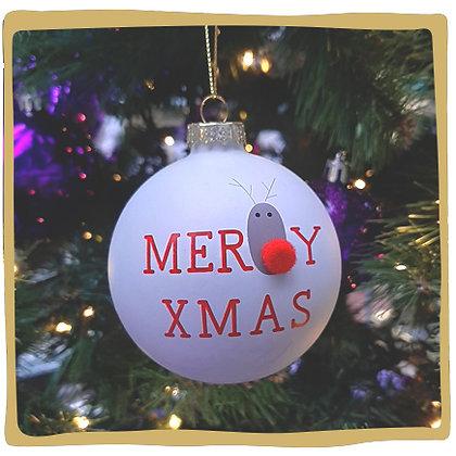 Kerstbal - Merry Xmas - Reindeer White