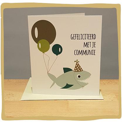 Gefeliciteerd met je communie Shark - wenskaart