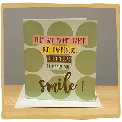 Geldkaart - Money can't buy happiness