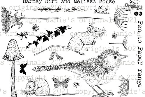 Barney Bird and Melissa Mouse A5 stamp set