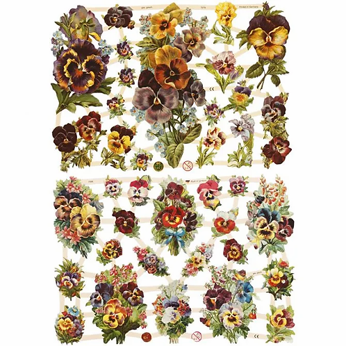 Vintage style die cuts. Pansy collection