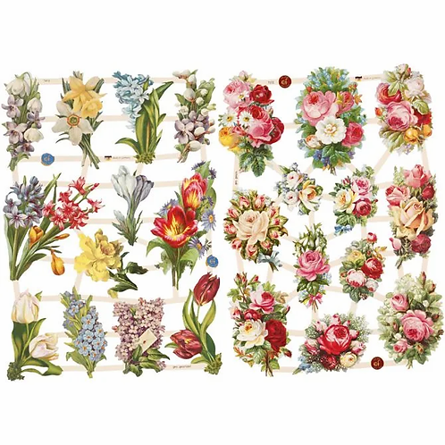 Vintage style die cuts. Spring flowers.