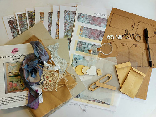 Janie's Ephemera Lapbook kit in Blue