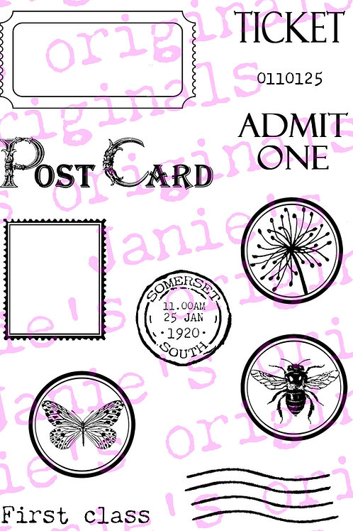 Postal and Ticket A6 Stamp Set