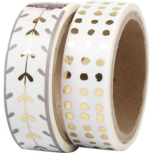 Washi Tape,  Gold/Silver patterned and dots - foil