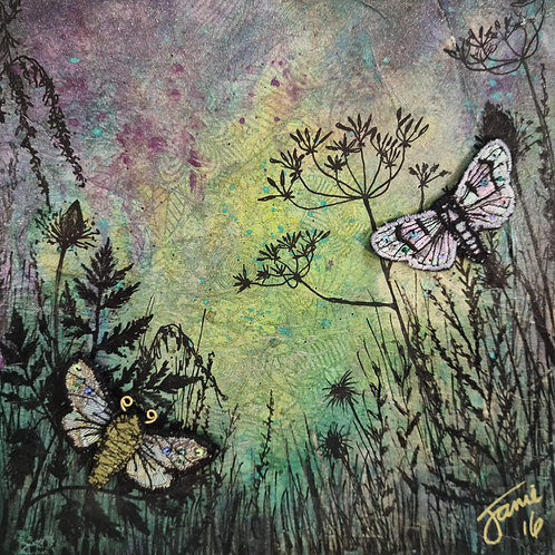 Moth mixed media Painting