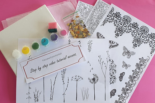 Janie's Mixed media canvas kit 1: With online video tutorial access