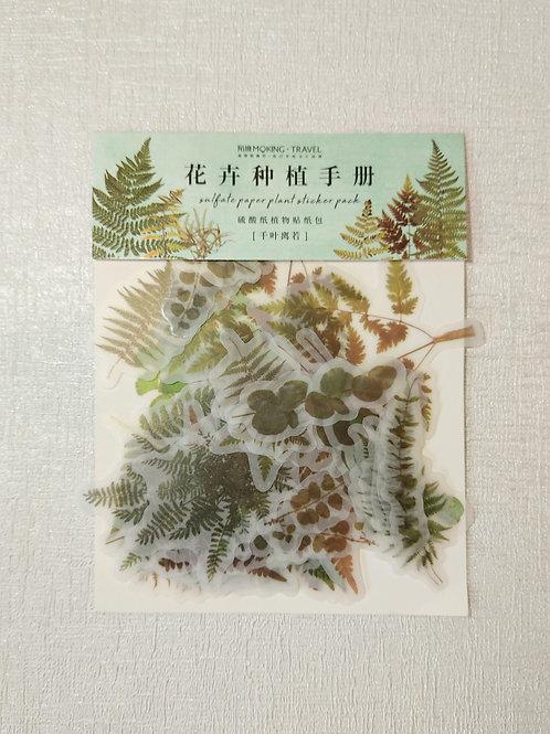 Leaf sticker set. 40 pack.