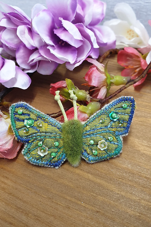 Small Embroidered and Beaded Butterfly Brooch