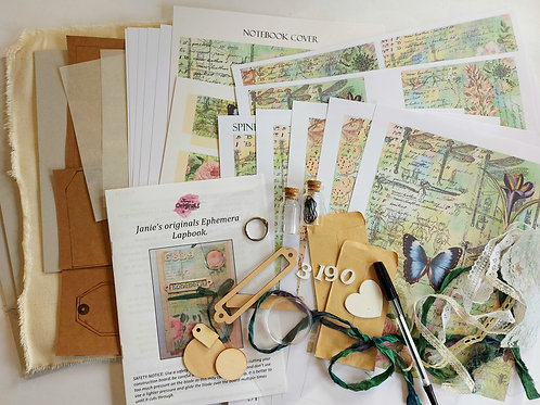 Janie's Ephemera Lapbook kit in Green