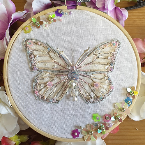 Janie's Limited edition Hand Embroidery Sparkle Butterfly Hoop kit