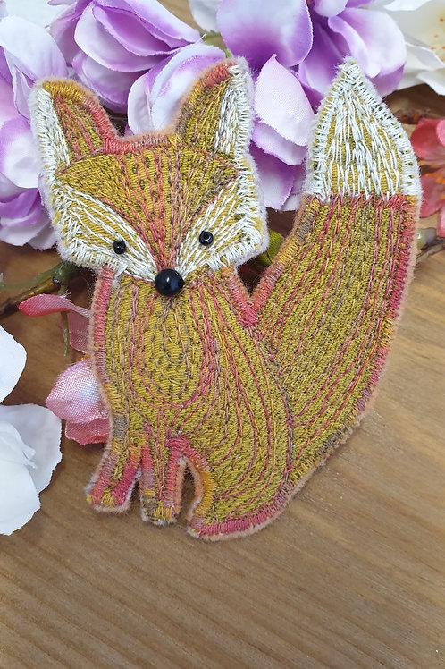 Stitched Cute Fox Brooch