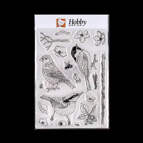 Birds, Bugs and Blossoms A5 stamp set designed by Janie for Hobby Art