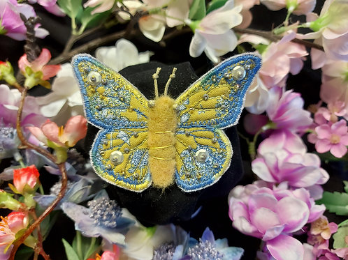Large Embroidered and Beaded Butterfly Brooch