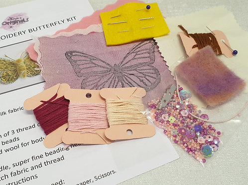 Janie's Hand Embroidery Butterfly brooch kit