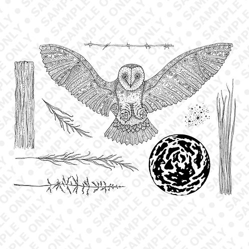 Orla Owl A5 stamp set designed by Janie for Hobby art.