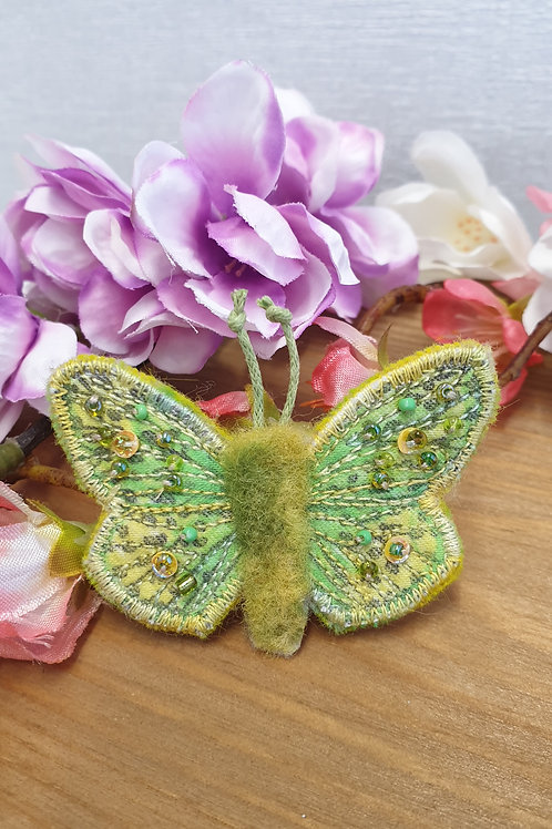 Embroidered and Beaded Butterfly Brooch