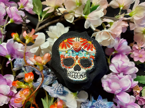 Candy Skull Embroidered Brooch