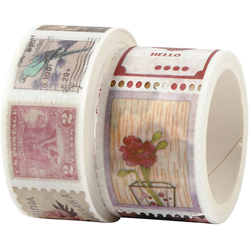 Washi Tape. Postage stamps and Floral twin pack.