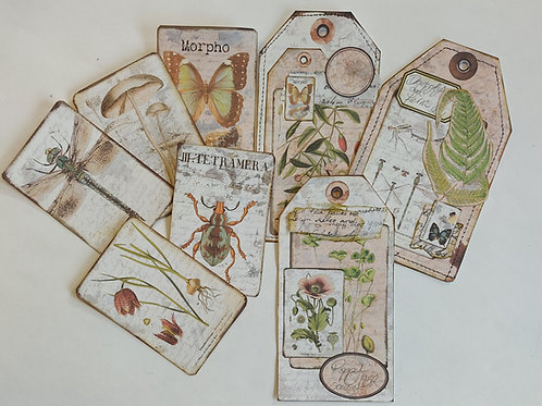 Vintage style Nature cards and tags. Digital download with print option