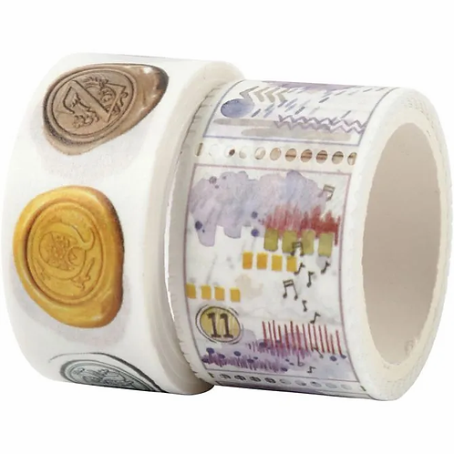 Washi Tape. Watercolour postage stamps and faux wax seal twin pack.