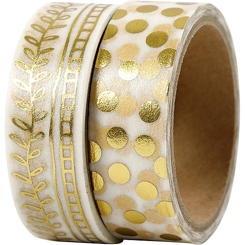 Washi Tape,  Gold patterned and dots - foil