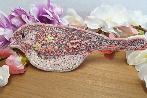 Embroidered and beaded Bird Brooch