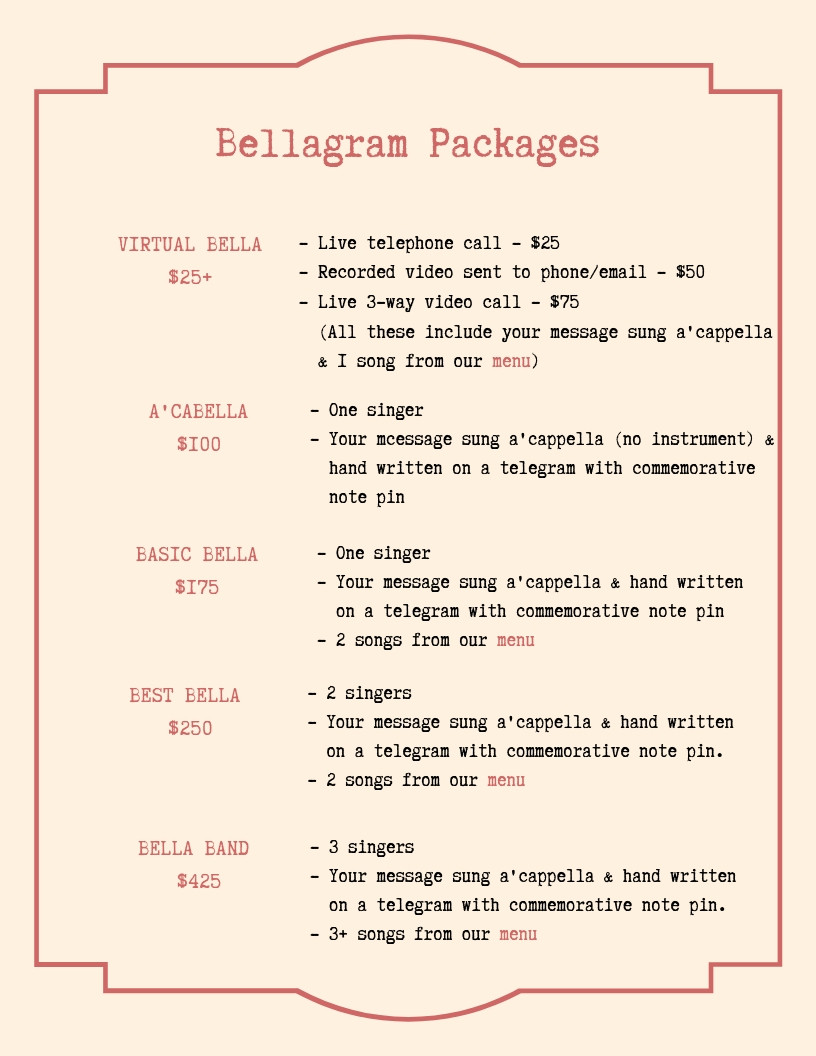 Bella Packages | Portland Singing Telegram Service