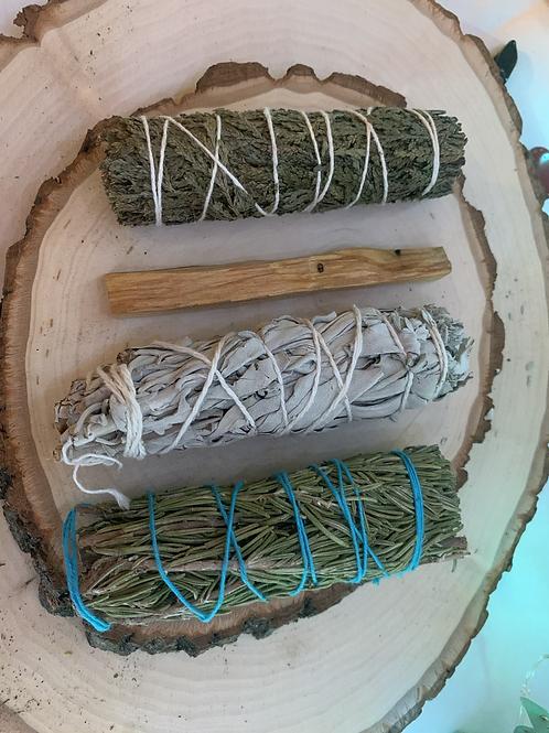 Cleansing Smudge Kit (Sage, Palo Santo, Cedar, + Rosemary)