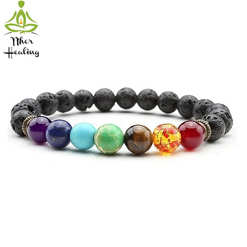 7 Chakras Healing Bracelet w/ Lava beads- Unisex (Reiki Infused)