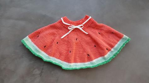 Lieber mit Melone, als ohne - ein Strickrock für Mädchen