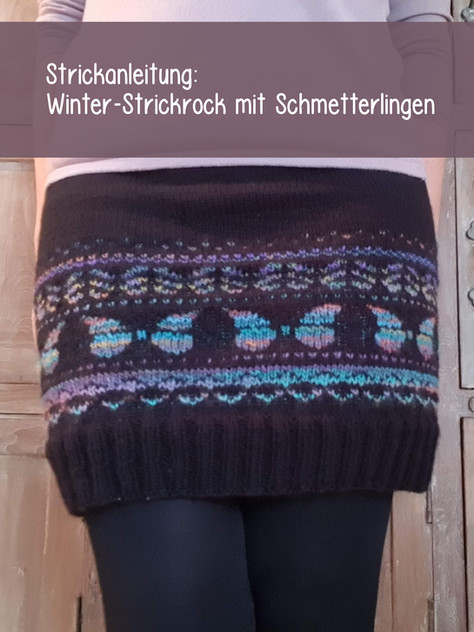 Winter-Strickrock mit Schmetterlingen in Fair Isle