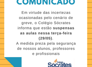 COMUNICADO IMPORTANTE - AULAS SUSPENSAS 29-05