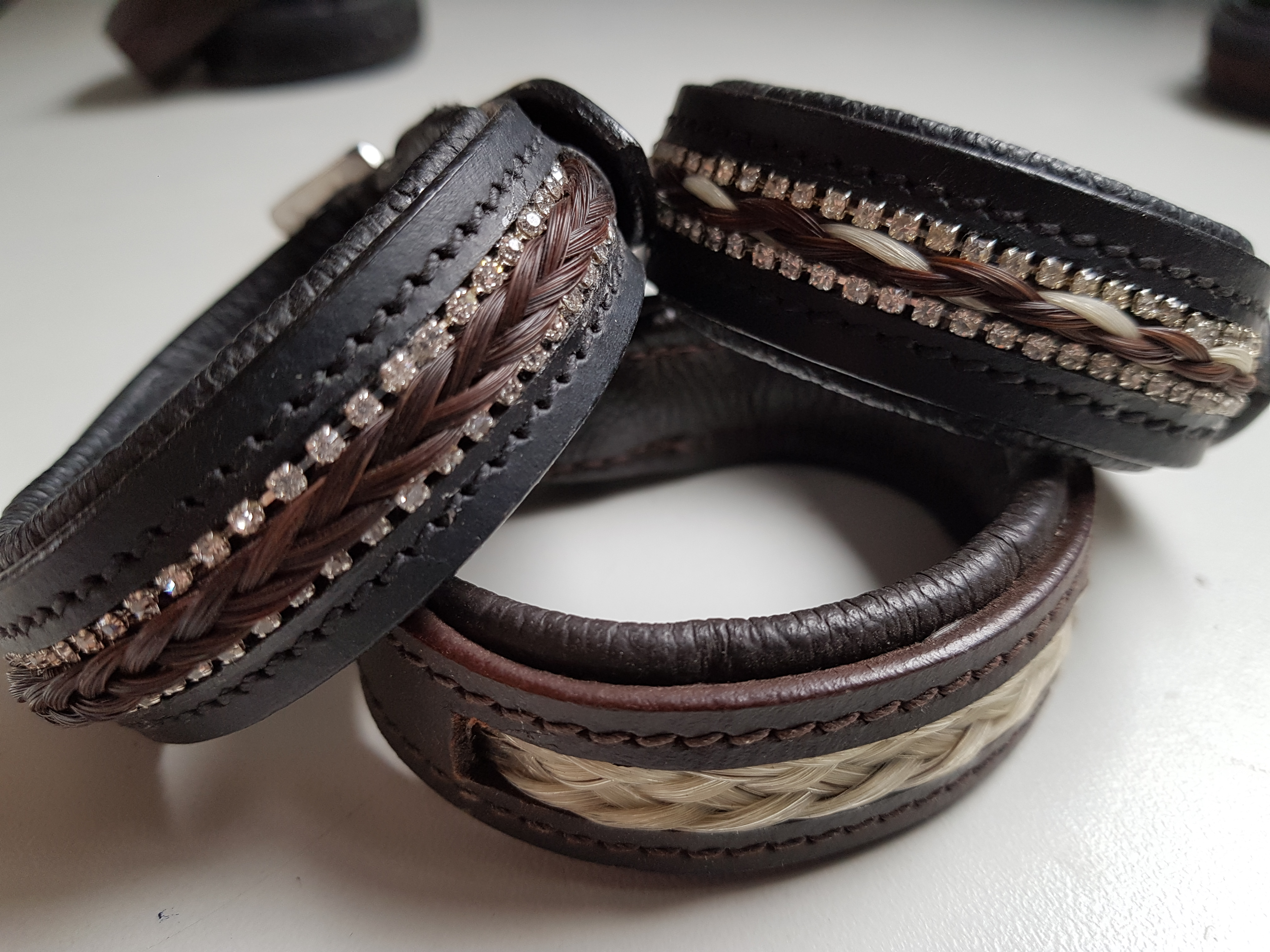 Horse Hair Inlay Leather Bracelets