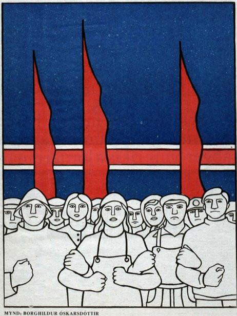 Mynd eftir Borghildi Óskarsdóttur sem birtist í Þjóðviljanum 1977